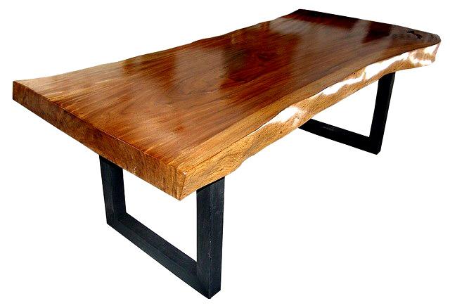 SUAR SLAB WOOD TABLES METAL LEG