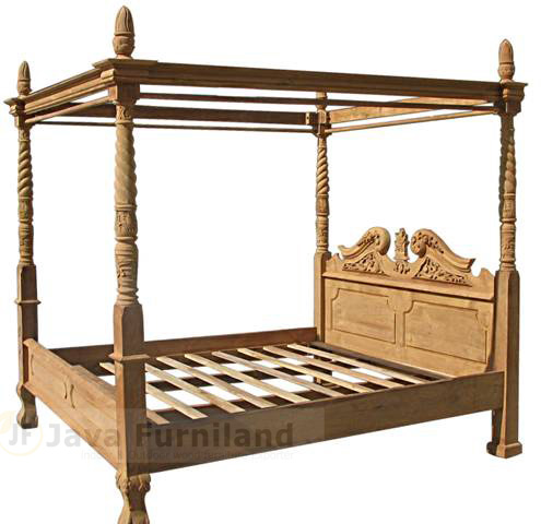 Chippendale canopy bed frame jepara solid teak wood hand for Meuble chippendale