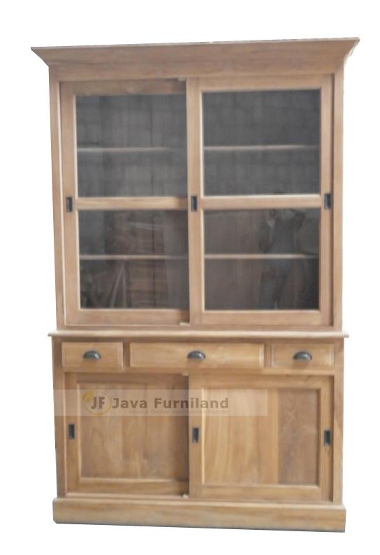 Two Glass Door Display Cabinet Solid Teak Wood Furniture Traditional