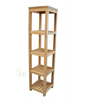 Teak Bookcase Shelves Open