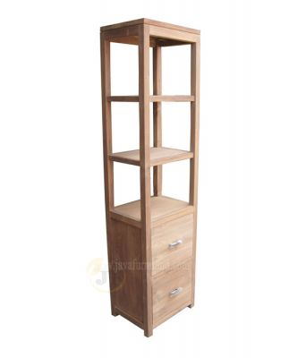 Teak Bookcase Shelves 2 Drawers