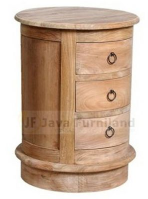 TEAK ROUND NIGHTSTAND 3 DRAWERS