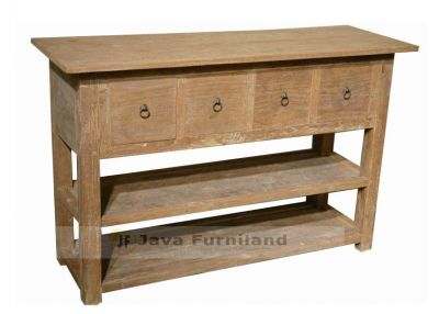 CONSOLE TABLE 4 DRAWERS with 2 SHELF