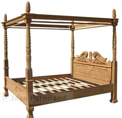 TEAK BED CHIPPENDALE CARVING
