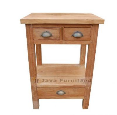 TEAK CONSOLE 3 SMALL DRAWERS