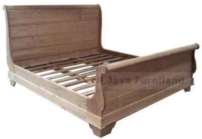 TEAK SLEIGH BED FOOT HIGH