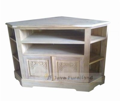 TEAK CORNER TV STAND W CARVING DOOR