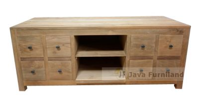 CONSOLE TV STAND 8 STORAGE DRAWERS