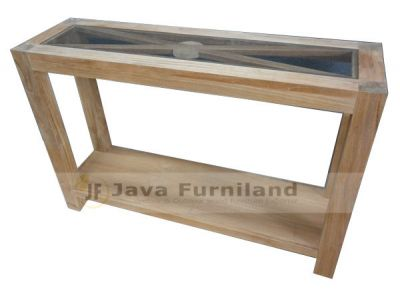 CONSOLE TABLE WITH GLASS AND SHELF
