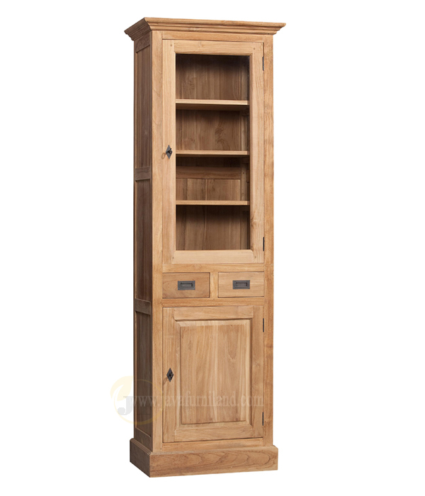 Teak Wood Bookcase Cabinets With Gl